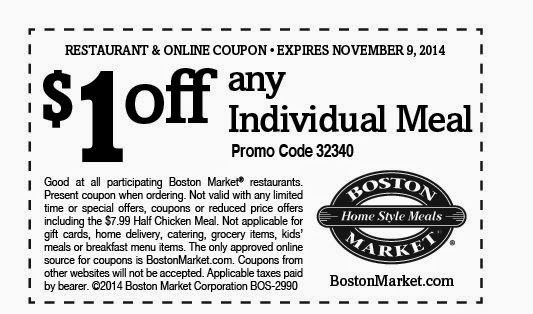 Print the coupons below and take to a participating Boston Market to save. Print out coupons for Boston Market. BeFrugal updates printable coupons for Boston Market every day.